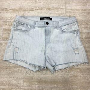 New J Brand Distress Stretch Blue Shorts Size: 25